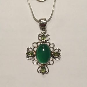 Sterling Silver, Green Onyx. and Peridot Necklace